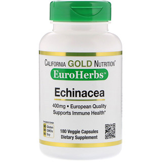 California Gold Nutrition, Echinacea, EuroHerbs, European Quality, 400 mg, 180 Veggie Capsules