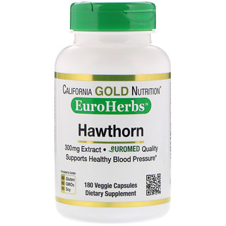 California Gold Nutrition, Extracto de espino, EuroHerbs, calidad europea, 300 mg, 180 cápsulas vegetales