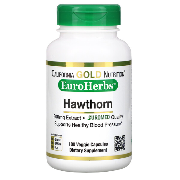 Hawthorn Extract, EuroHerbs, European Quality, 300 mg, 180 Veggie Capsules