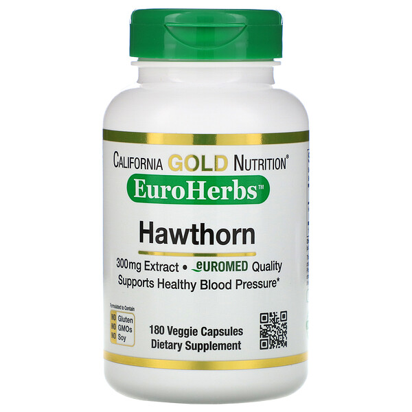 California Gold Nutrition, مستخلص الزعرور البرى، EuroHerbs، 300 ملجم، 180 كبسولة نباتية