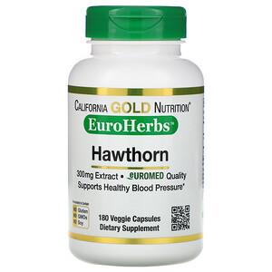 California Gold Nutrition, Hawthorn Extract, EuroHerbs, European Quality, 300 mg, 180 Veggie Capsules отзывы покупателей