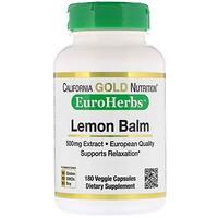 EuroHerbs, Lemon Balm, 500 mg, 180 Veggie Capsules - фото