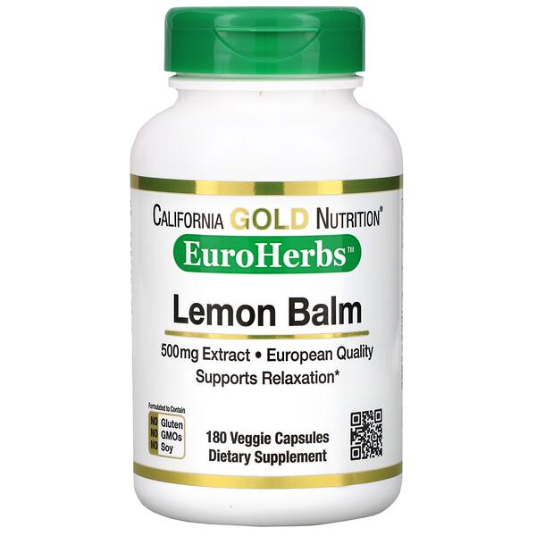 Lemon Balm Extract, European Qualtity, 500 mg, 180 Veggie Caps