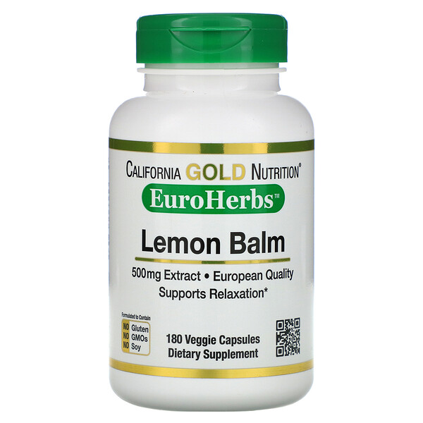 California Gold Nutrition, Lemon Balm Extract, European Qualtity, 500 mg, 180 Veggie Caps