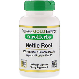 California Gold Nutrition, Nettle Root Extract, EuroHerbs, European Quality, 250 mg, 180 Veggie Capsules