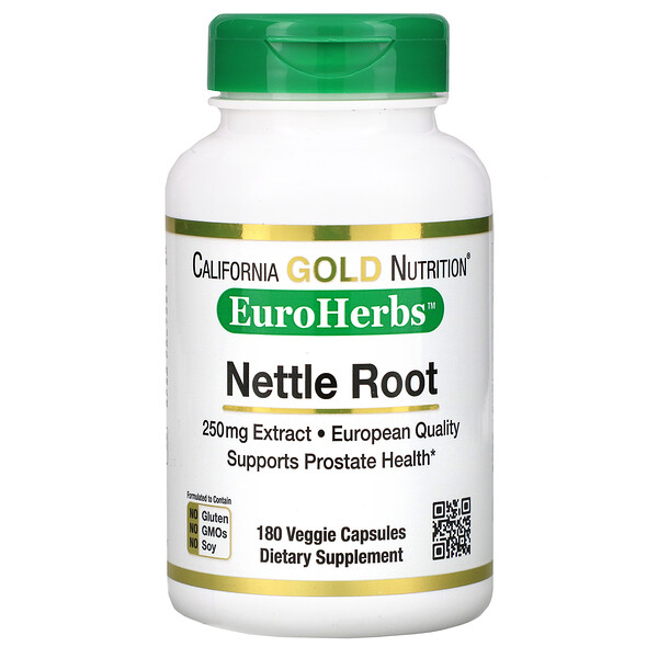 California Gold Nutrition, Экстракт корня крапивы, EuroHerbs, 250мг, 180 растительных капсул