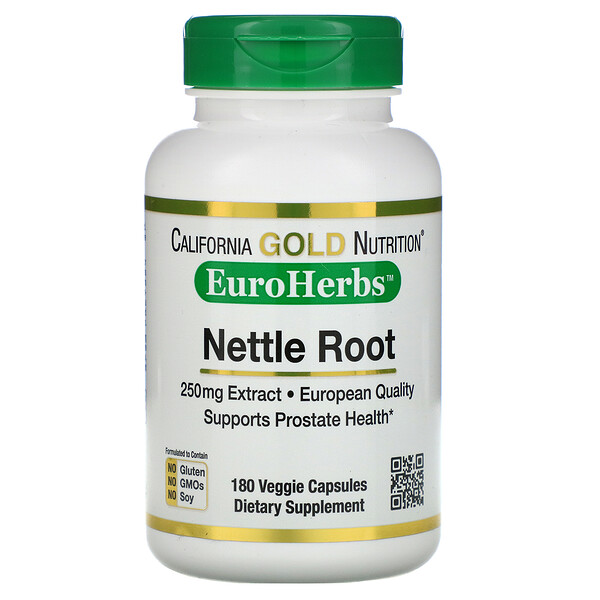 California Gold Nutrition, Nettle Root Extract, EuroHerbs, 250 mg, 180 Veggie Capsules (Discontinued Item)