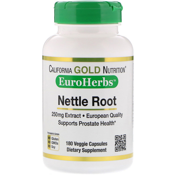 California Gold Nutrition, नेटल जड़ का सत्त, यूरोहर्ब्स, 250 मिग्रा, 180 वेजी कैप्सूल