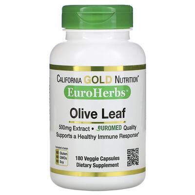 Купить California Gold Nutrition EuroHerbs, экстракт из листьев оливкового дерева, европейское качество, 500мг, 180растительных капсул