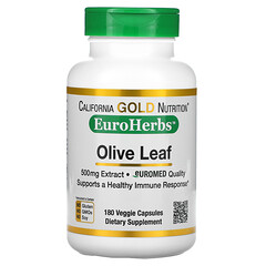 California Gold Nutrition, 橄欖葉提取物,EuroHerbs,歐洲品質,500 毫克,180 粒素膠囊