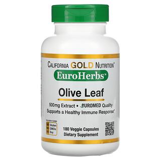 California Gold Nutrition, Экстракт из листьев оливкового дерева, EuroHerbs, европейское качество, 500мг, 180растительных капсул