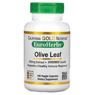 California Gold Nutrition, Olive Leaf Extrakt, Olivenblattextrakt, EuroHerbs, europäische Qualität, 500mg, 180vegetarische Kapseln