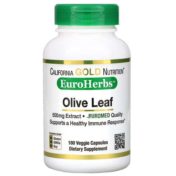 California Gold Nutrition, Olive Leaf Extract, EuroHerbs, European Quality, 500 mg, 180 Veggie Capsules