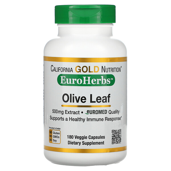 EuroHerbs, экстракт из листьев оливкового дерева, европейское качество, 500мг, 180растительных капсул