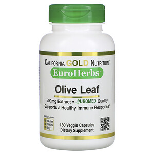 California Gold Nutrition, Olive Leaf Extract, EuroHerbs, European Quality, 500 mg, 180 Veggie Capsules отзывы покупателей