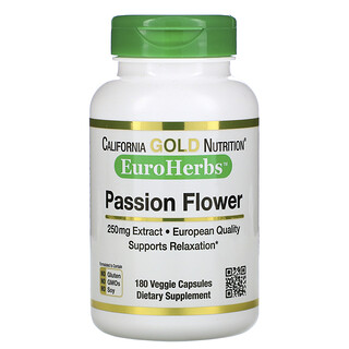 California Gold Nutrition, Passion Flower, EuroHerbs, 250 mg, 180 Veggie Capsules
