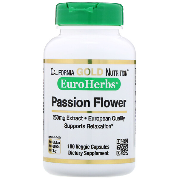 California Gold Nutrition, Maracujá, EuroHerbs, 250 mg, 180 cápsulas vegetais