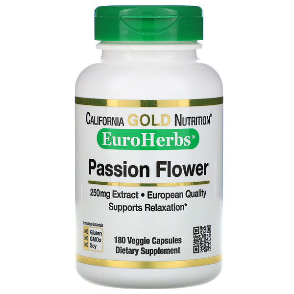 California Gold Nutrition, 西番蓮,EuroHerbs,250 毫克,180 粒素食膠囊
