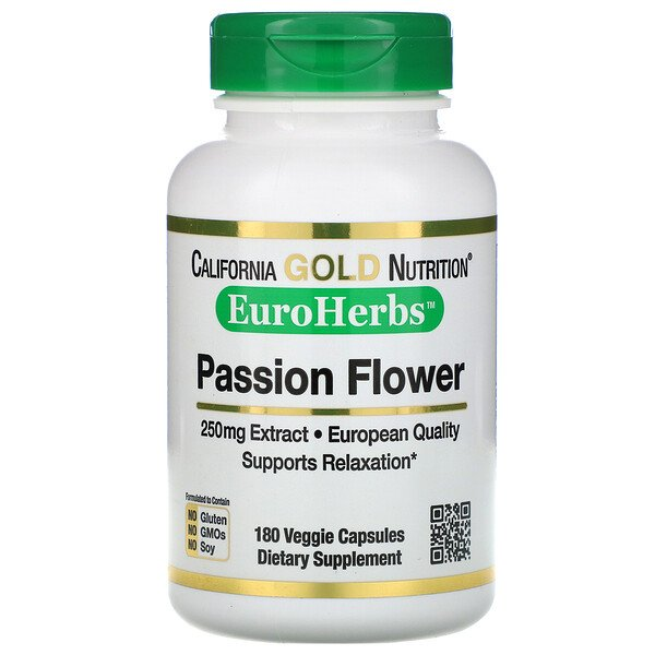 "California Gold Nutrition, פסיפלורה, EuroHerbs‏, 250 מ""ג, 180 כמוסות צמחיות"
