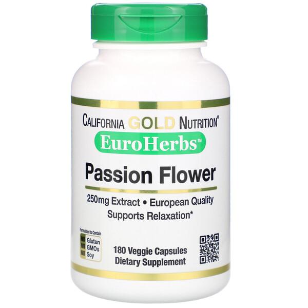 Passion Flower, EuroHerbs, 250 mg, 180 Veggie Capsules