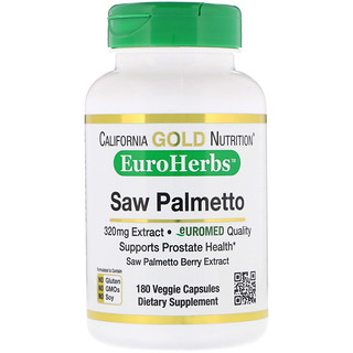 California Gold Nutrition, Saw Palmetto Extract, EuroHerbs, European Quality, 320 mg, 180 Veggie Capsules
