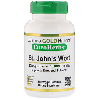 California Gold Nutrition, St. John's Wort Extract, EuroHerbs, European Quality, 300 mg, 180 Veggie Capsules