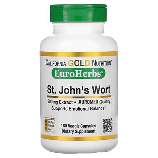 California Gold Nutrition, 貫葉連翹,EuroHerbs,歐洲質量,300 毫克,180 粒素食膠囊