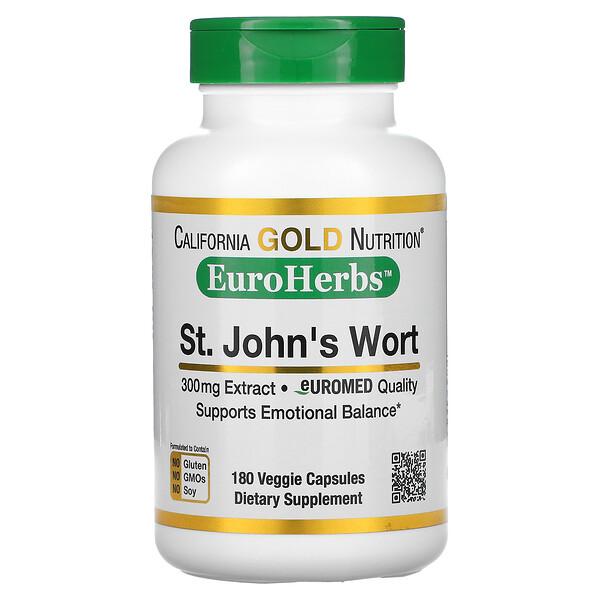 St. John's Wort, EuroHerbs, European Quality, 300 mg, 180 Veggie Capsules