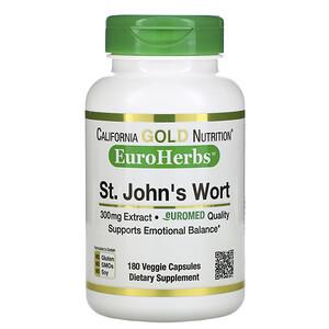 California Gold Nutrition, St. John's Wort Extract, EuroHerbs, European Quality, 300 mg, 180 Veggie Capsules отзывы