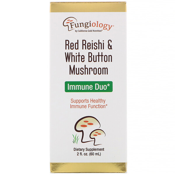 California Gold Nutrition, Fungiology Red Reishi & White Button Mushroom, Immune Duo, 2 fl oz (60 ml)