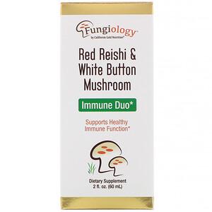 California Gold Nutrition, Fungiology, Red Reishi & White Button Mushroom, Immune Duo, 2 fl oz (60 ml) отзывы