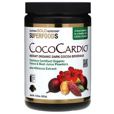 Купить California Gold Nutrition CocoCardio, сертифицированный напиток из органического растворимого темного какао с соком свеклы и гибискусом, 225г (7, 93унции)