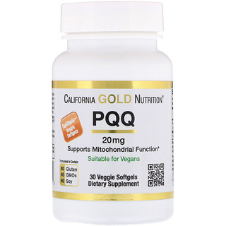 California Gold Nutrition, PQQ, 20 mg, 30 Veggie Softgels