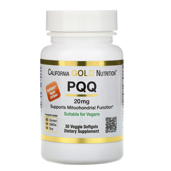 California Gold Nutrition, PQQ, 20 mg, 30 cápsulas blandas vegetarianas