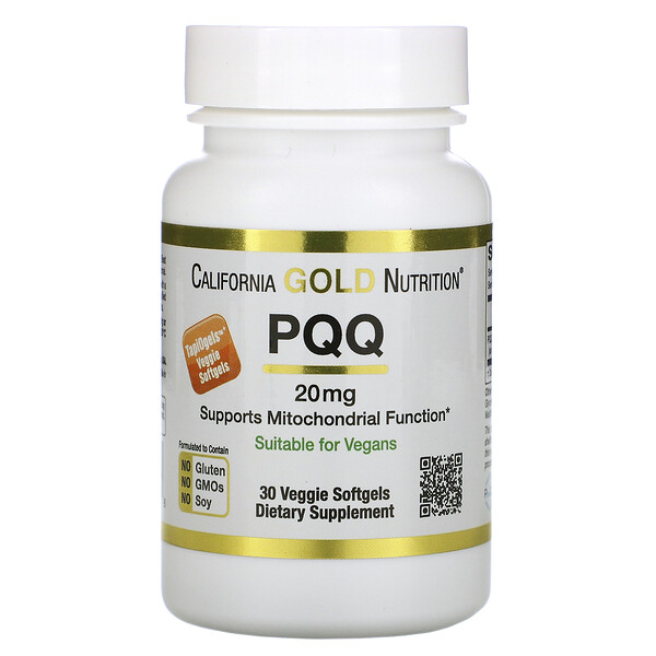 California Gold Nutrition, PQQ, 20 mg, 30 Cápsulas Softgel Vegetais
