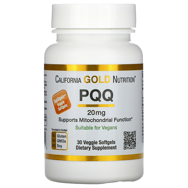 California Gold Nutrition, PQQ, 20 mg, 30 cápsulas blandas vegetales