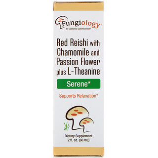 California Gold Nutrition, Fungiology, Red Reishi with Chamomile and Passion Flower plus L-Theanine, Serene, 2 fl oz (60 ml)