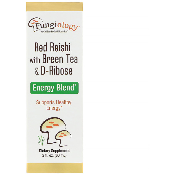 California Gold Nutrition, Fungiology, Red Reishi with Green Tea & Ribose, Energy Blend, 2 fl oz (60 ml)