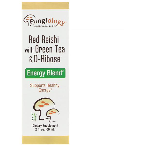 California Gold Nutrition, ファンジオロジー、緑茶&リボース入り赤霊芝、エナジーブレンド、2液量オンス(60 ml)