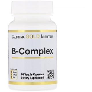 California Gold Nutrition, ب-المُركّب، مجمع فينتامين ب الأساسي، 60 كبسولة نباتية