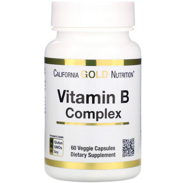 California Gold Nutrition, Complejo B, complejo de vitamina B esencial, 60 cápsulas vegetales