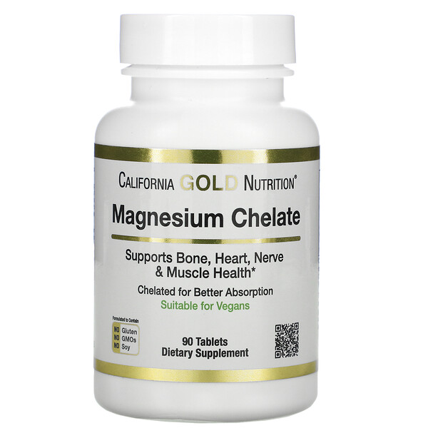 California Gold Nutrition, Magnesium Chelate, 210 mg, 90 Tablets