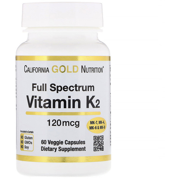 California Gold Nutrition, Витамин K2 (в форме MK-4, MK-6, MK-7, MK-9), 120 мкг, 60 вегетарианских капсул