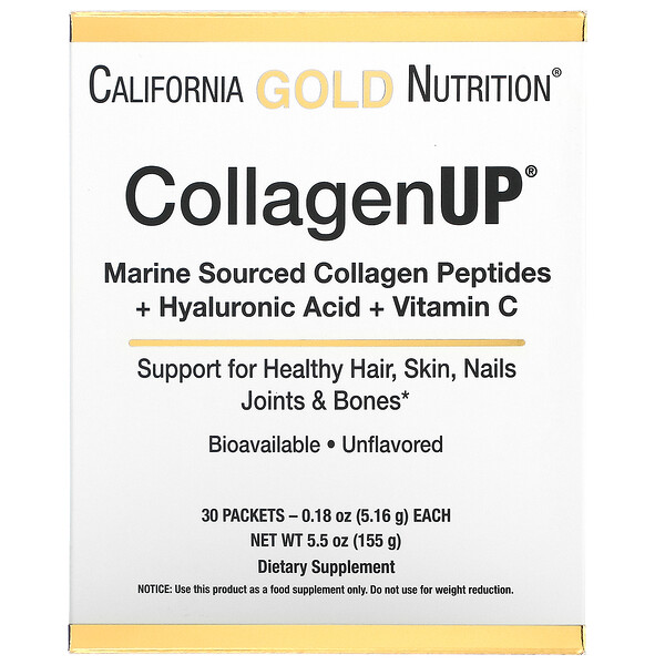 California Gold Nutrition, CollagenUp, Marine Hydrolyzed Collagen + Hyaluronic Acid + Vitamin C, Unflavored, 30 Packets, 0.18 oz (5.16 g) Each
