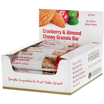 Купить California Gold Nutrition Foods, жевательные батончики-мюсли с клюквой и миндалем, 12батончиков весом 1, 4унции (40г) каждый