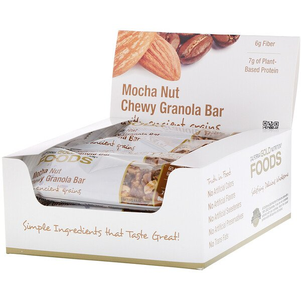 California Gold Nutrition, Foods, Mocha Nut Chewy Granola Bars, 12 Bars, 1.4 oz (40 g) Each