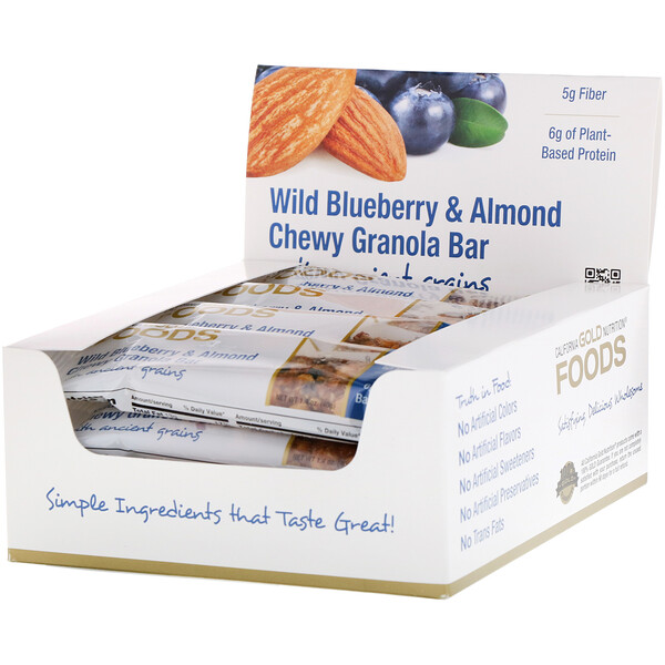 Foods, Wild Blueberry & Almond Chewy Granola Bars, 12 Bars, 1.4 oz (40 g) Each