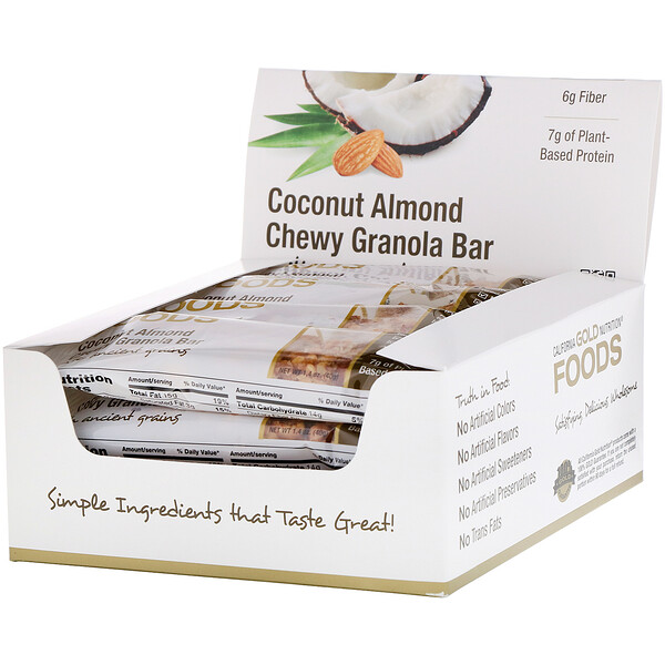 California Gold Nutrition, 식품, 코코넛 아몬드 츄이 그래놀라 바 (Coconut Almond Chewy Granola Bar), 12개, 개당 40g (1.4 oz)