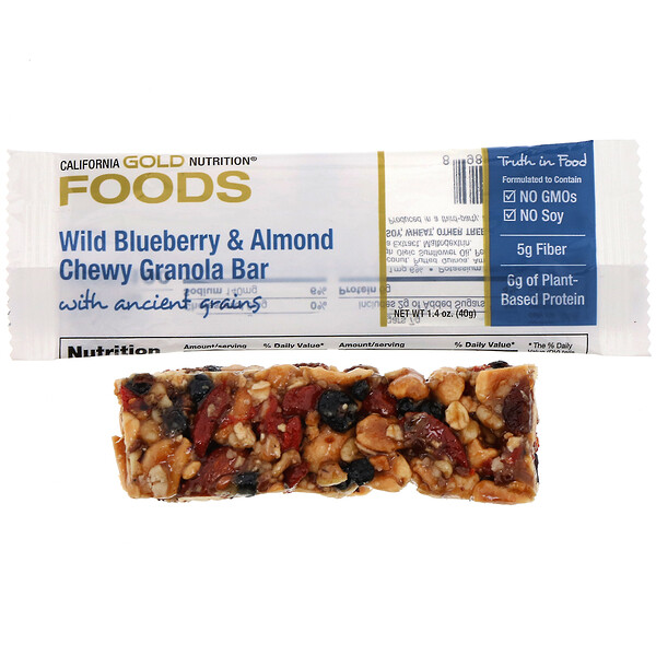 California Gold Nutrition, Foods, Wild Blueberry & Almond Chewy Granola Bar, 1.4 oz (40 g)