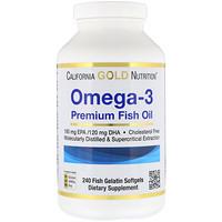 Омега-3, Рыбий жир премиум-класса, 240 желатиновых мягких таблеток - фото